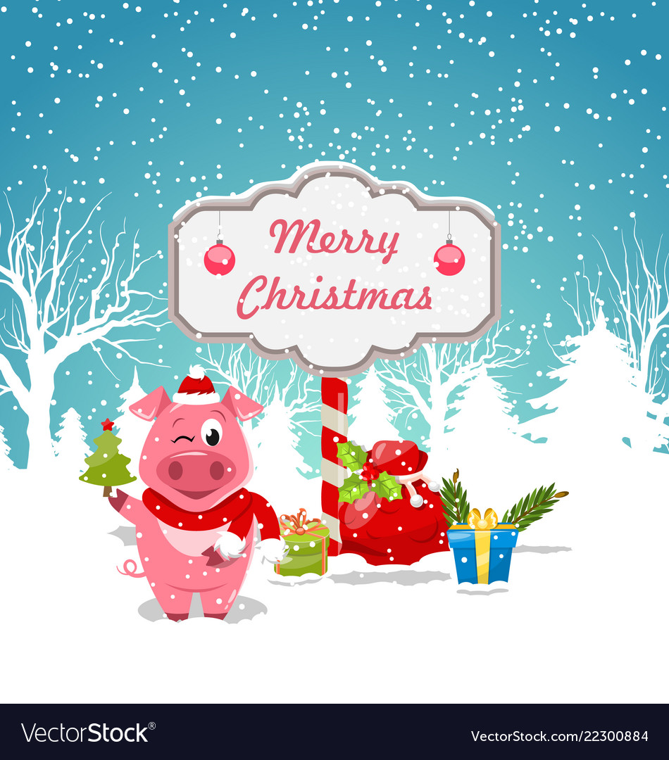 Funny pig wearing santa hat with christmas gift