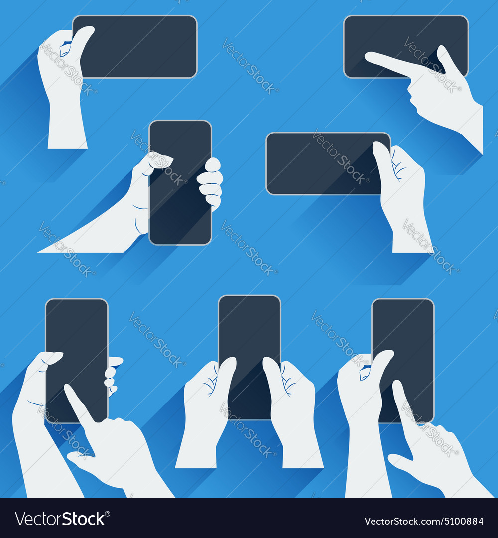 Hands holding a phone or other gadget Flat vector image