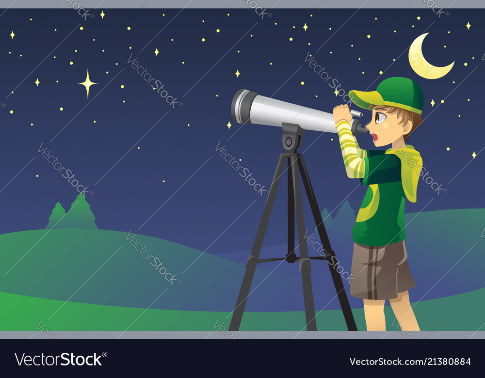 looking at stars with telescope royalty free vector image