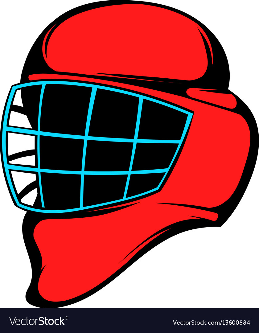 Red hockey helmet with cage icon icon cartoon