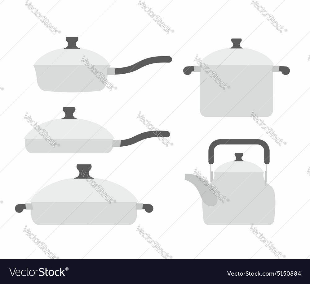 Set kitchen utensils frying pan and saucepan Tea