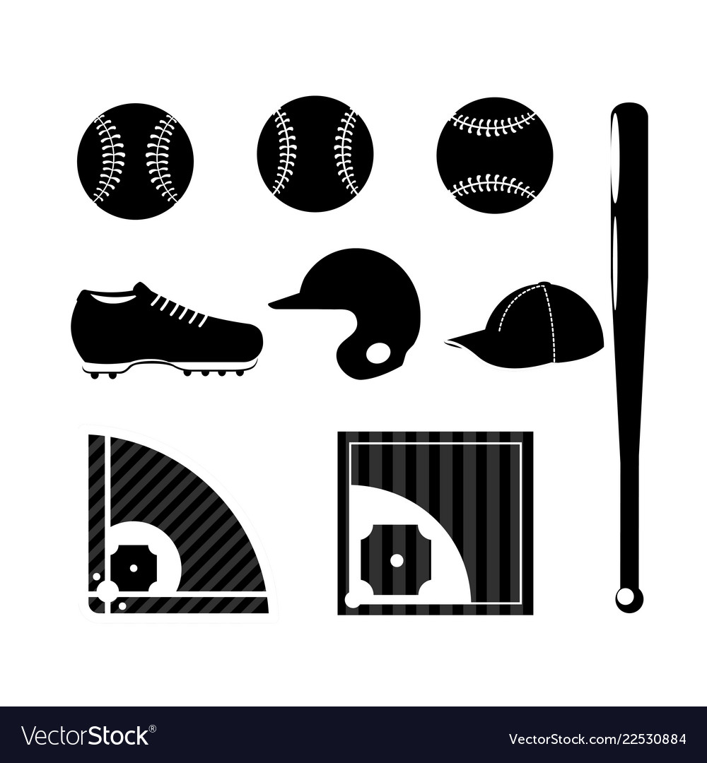 Set silhouette baseball sport game with