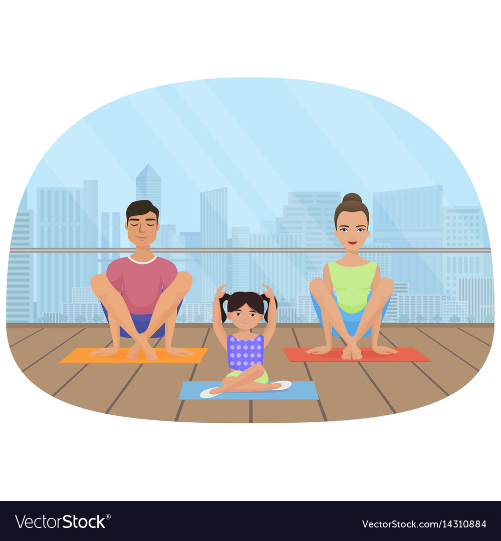 Young white people family meditating in fitness