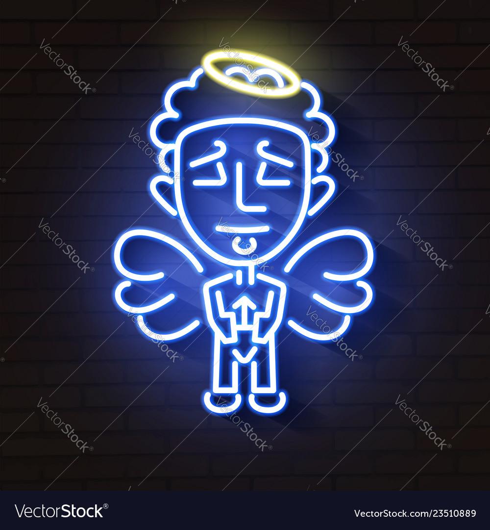 Beautiful neon angel glows in the dark