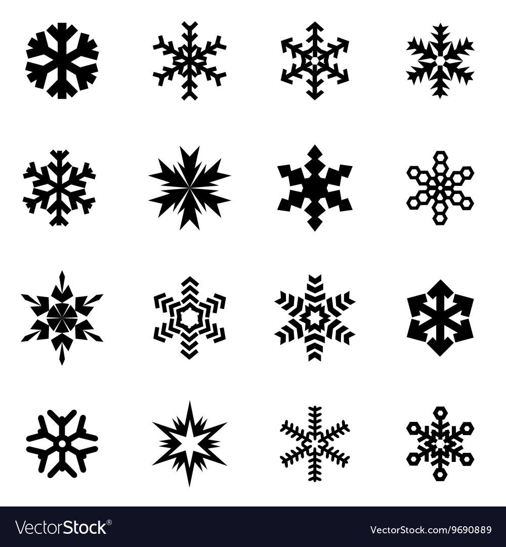 Black snowflake icon set