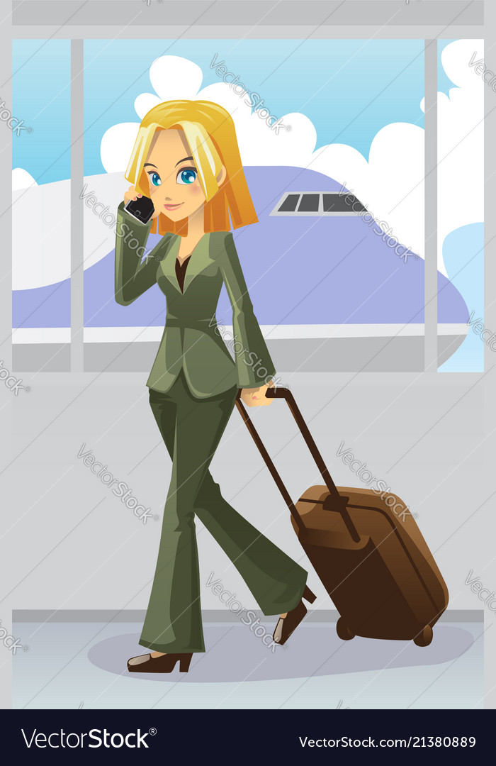 87cbdc0cadf55 Businesswoman at airport Royalty Free Vector Image