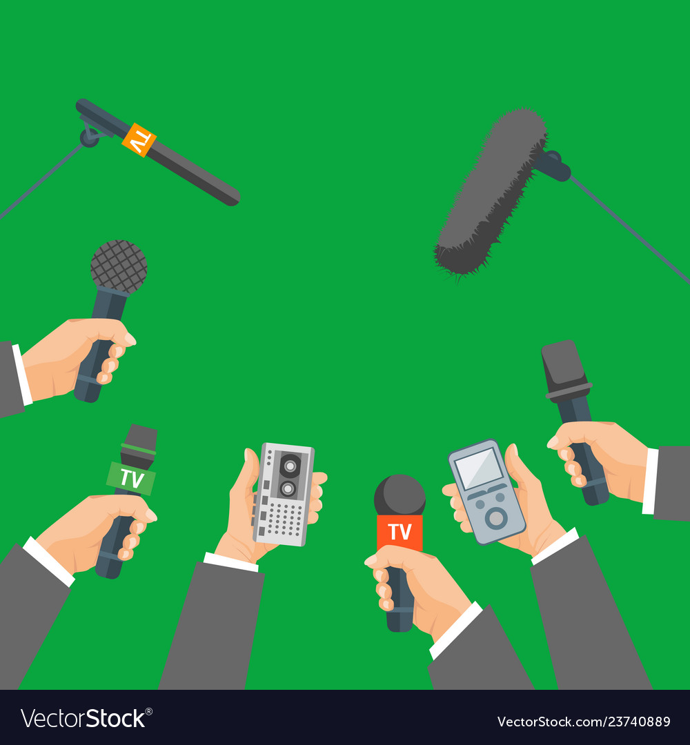 Cartoon human hand holding mic set