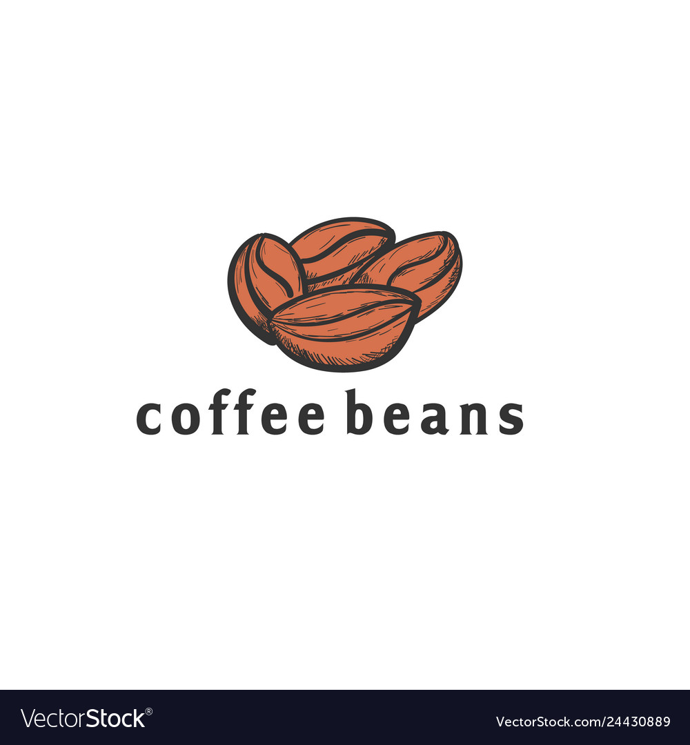 Coffee seed hand drawn logo designs