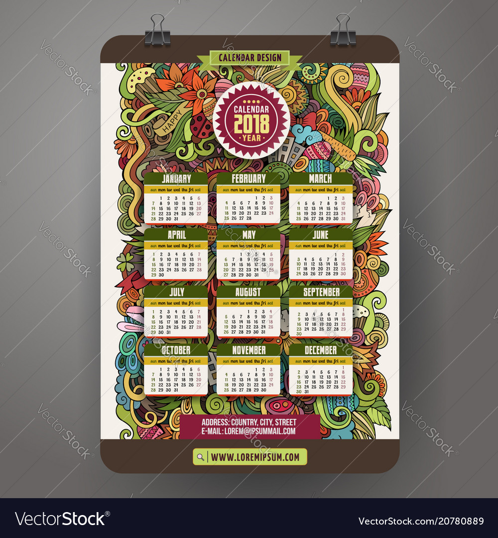 Doodles cartoon easter calendar 2018 year design