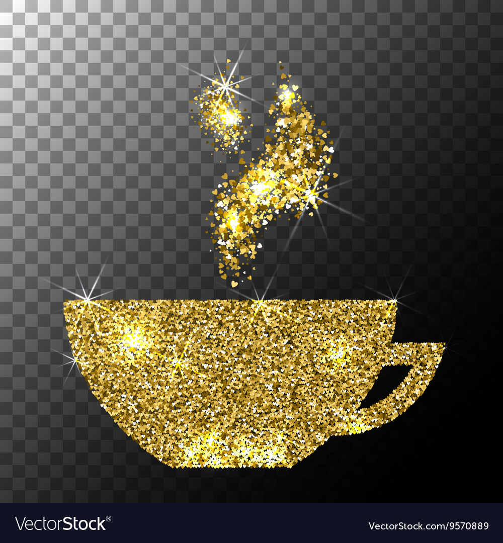 Gold Glitter Sparkle Cup of Coffee with