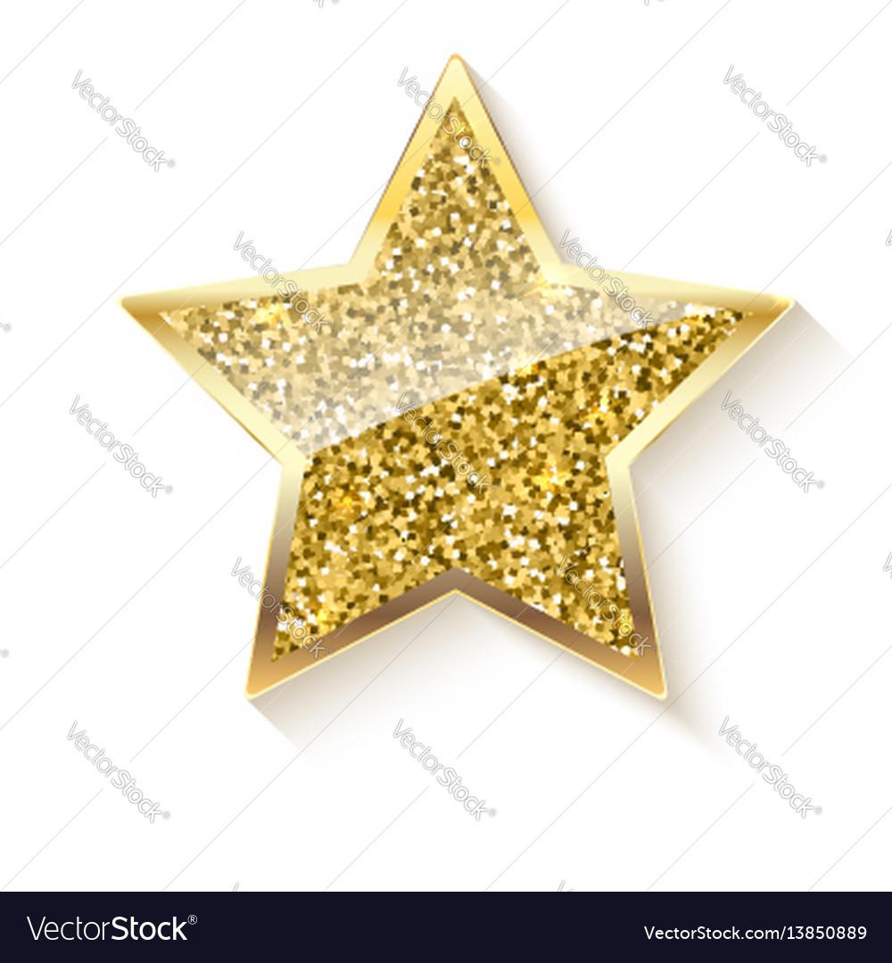 Golden star with glitter and reflex
