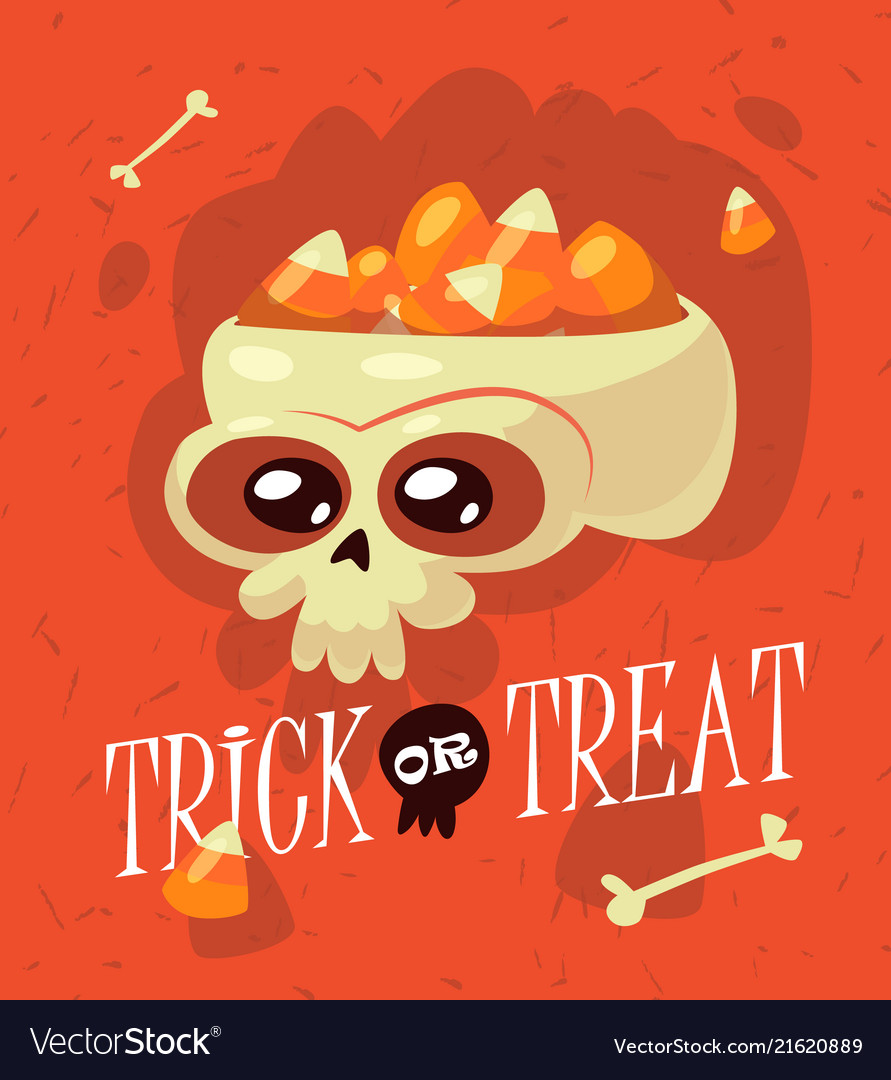 Halloween inscription trick or treat is