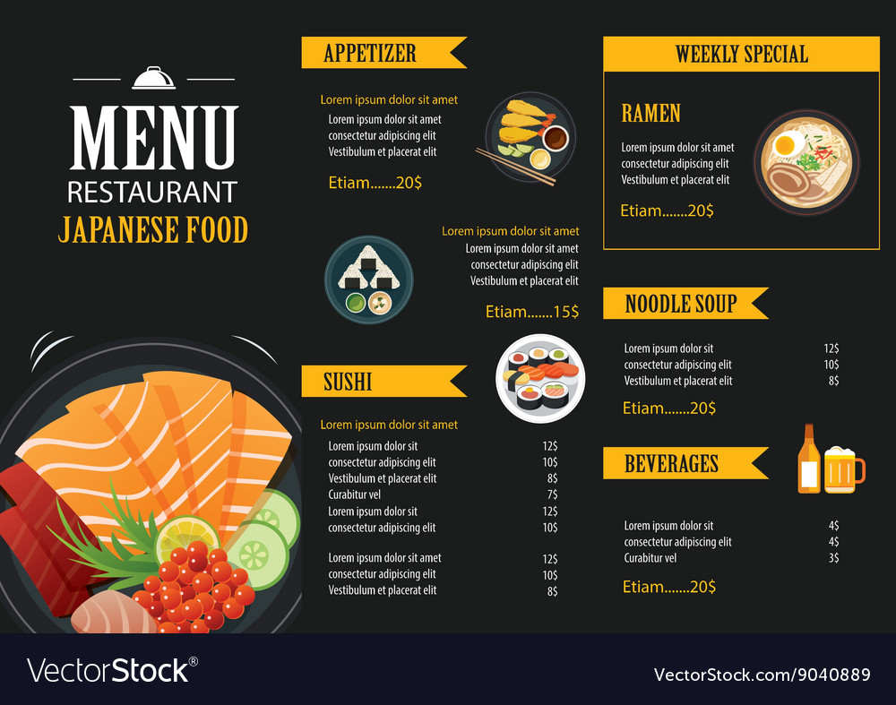 Japanese food menu restaurant brochure royalty free vector