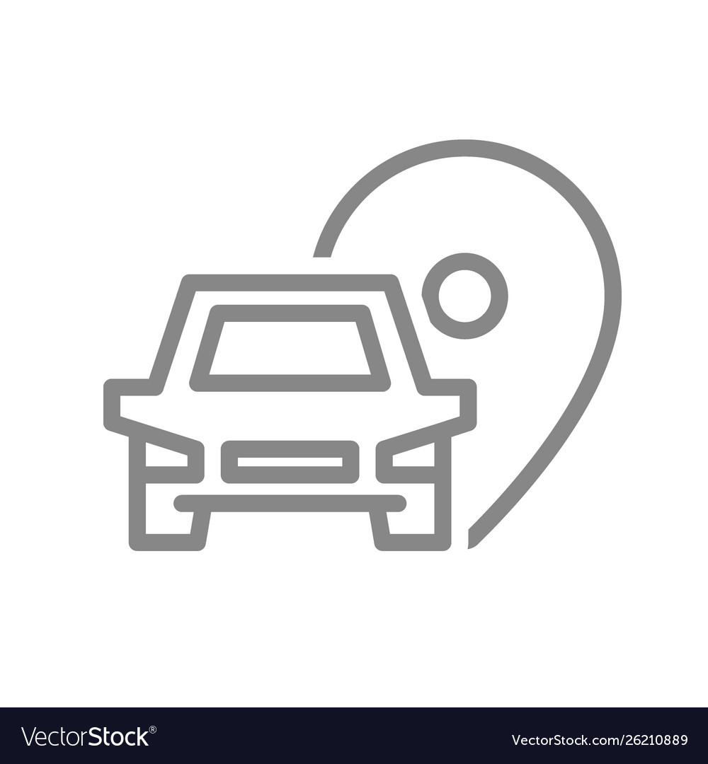 Location pin with car line icon parking symbol