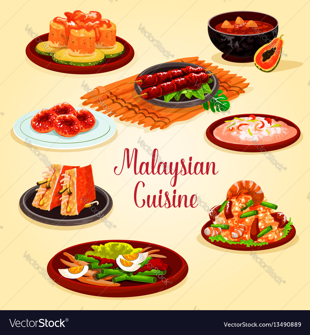 Malaysian cuisine cartoon poster for menu design