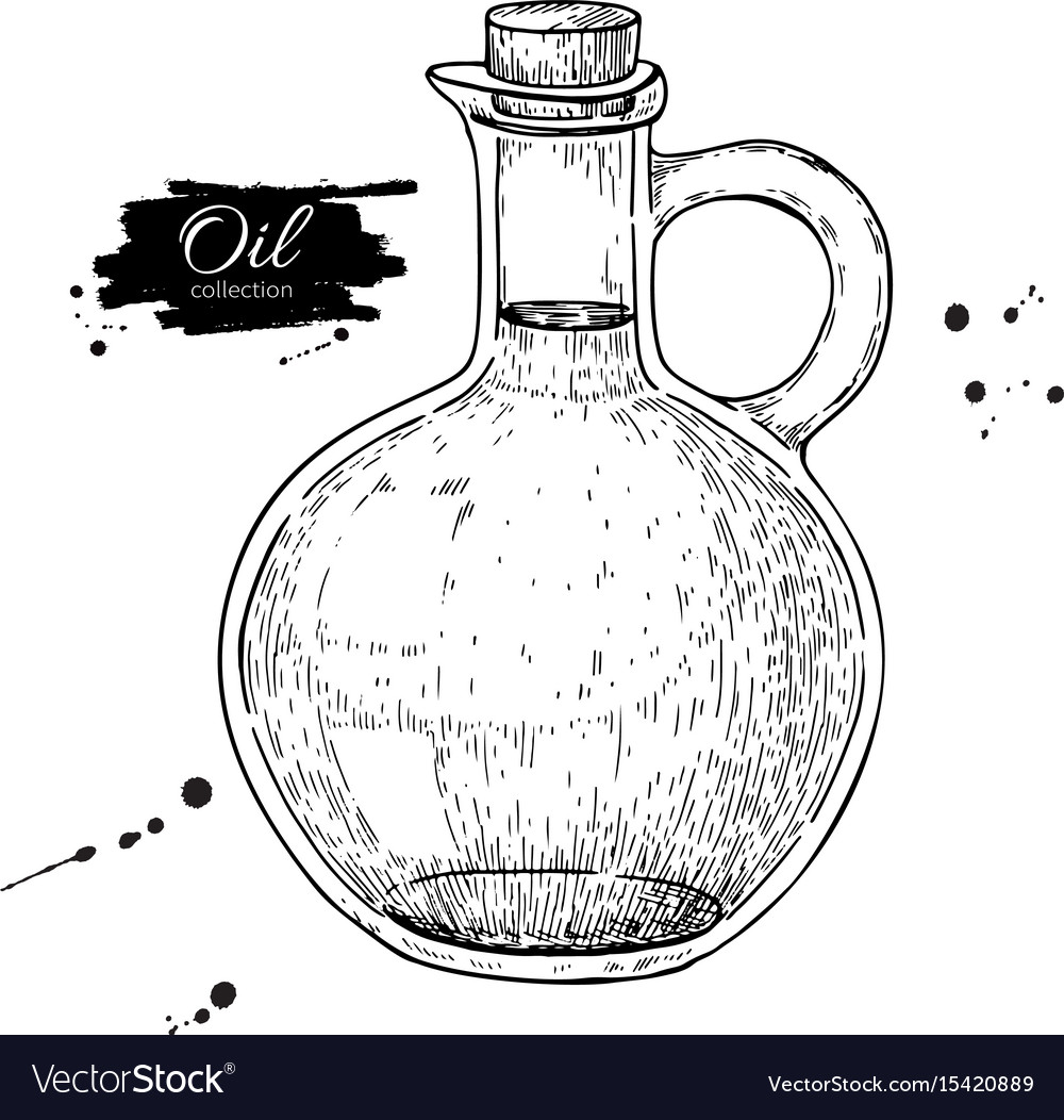 Oil bottle drawing glass pitcher with cork