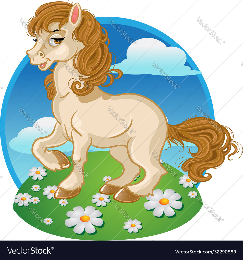 Pretty Horse On A Color Background Royalty Free Vector Image