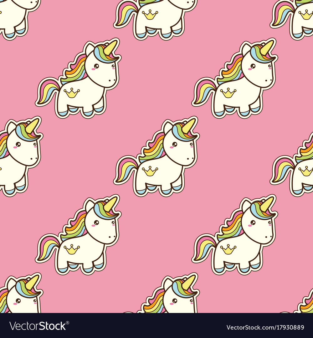 Seamless pattern with unicorn in kawaii japanese