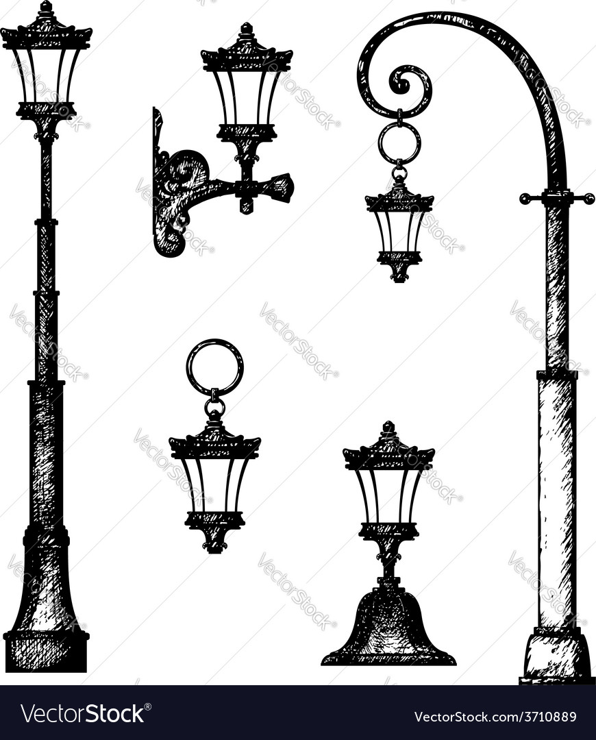 Sketch of street light drawing vector image