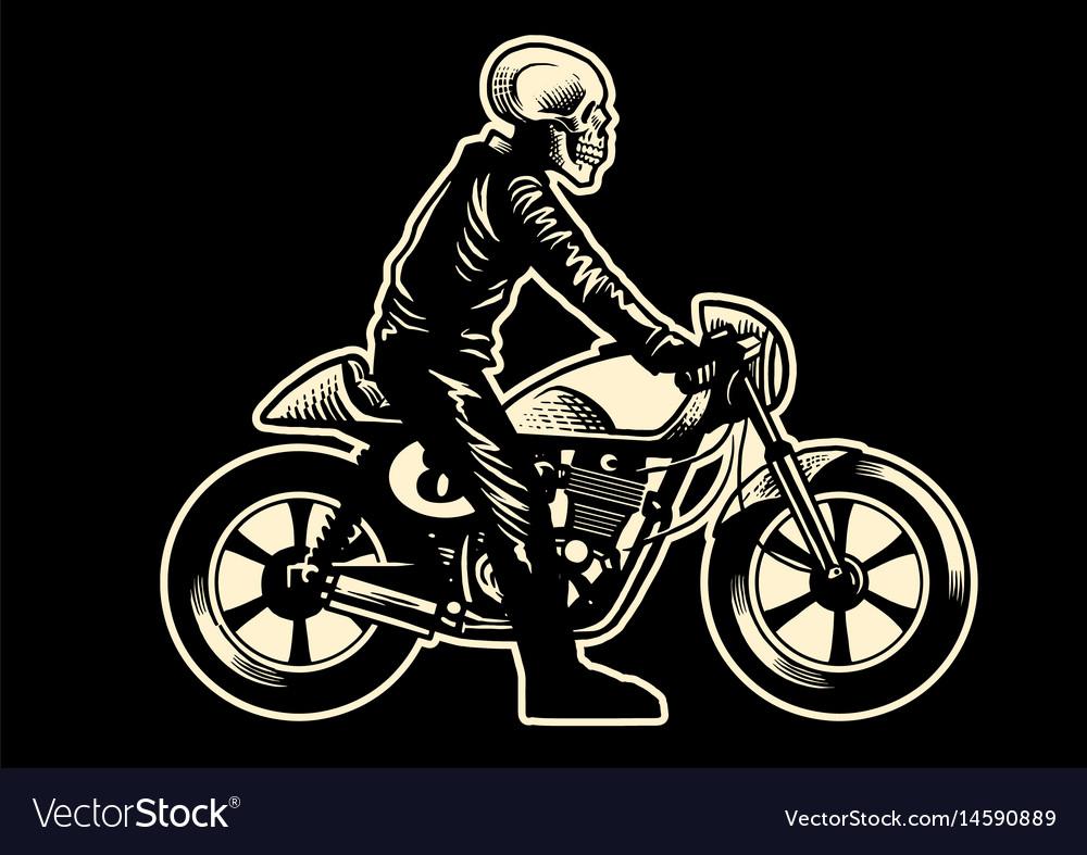 Skull motorcycle rider vector image