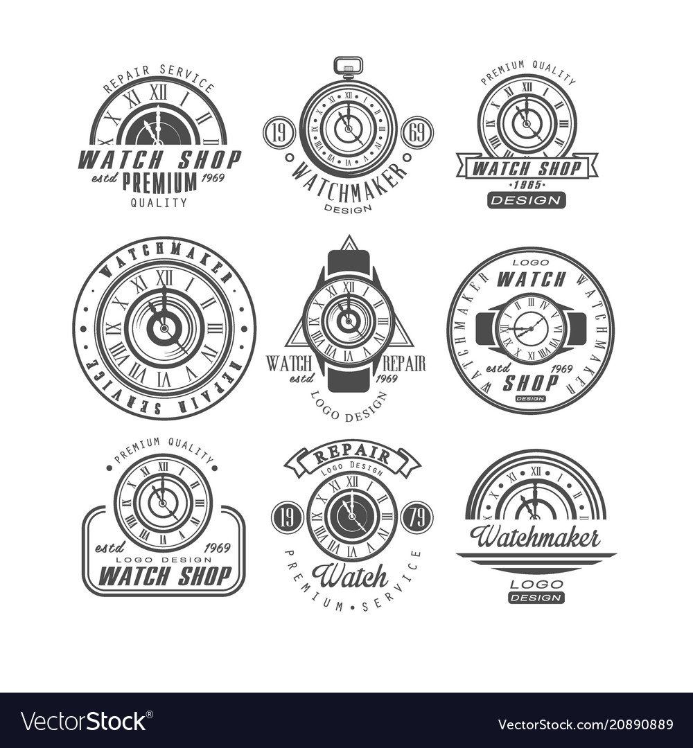 Watch shop and repair service logo set retro
