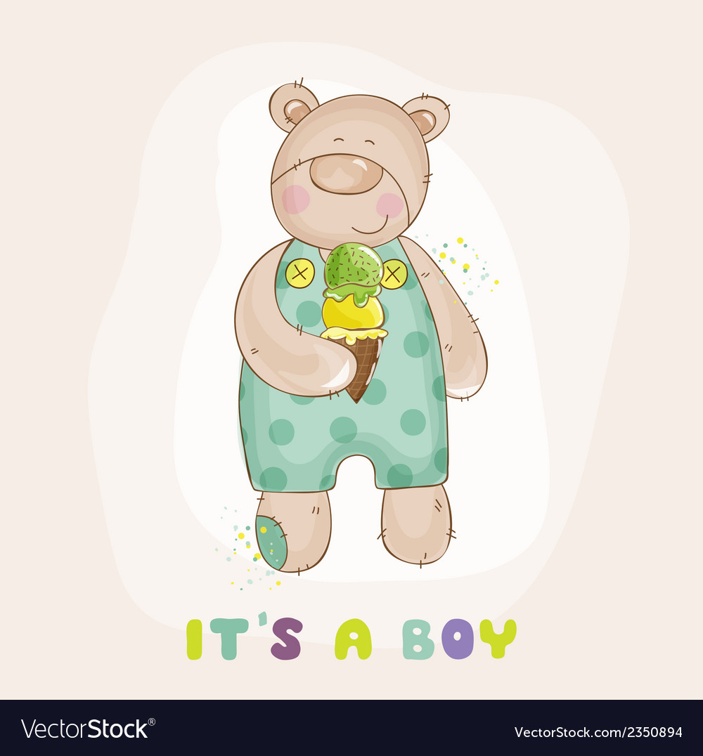 Baby Bear with Ice Cream - Baby Shower Card