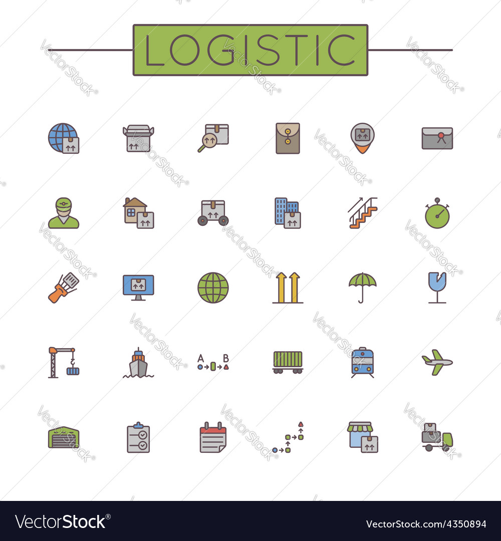 Colored Logistic Line Icons