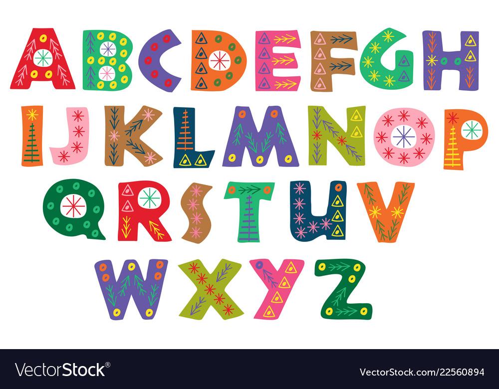 Decorative color winter alphabet