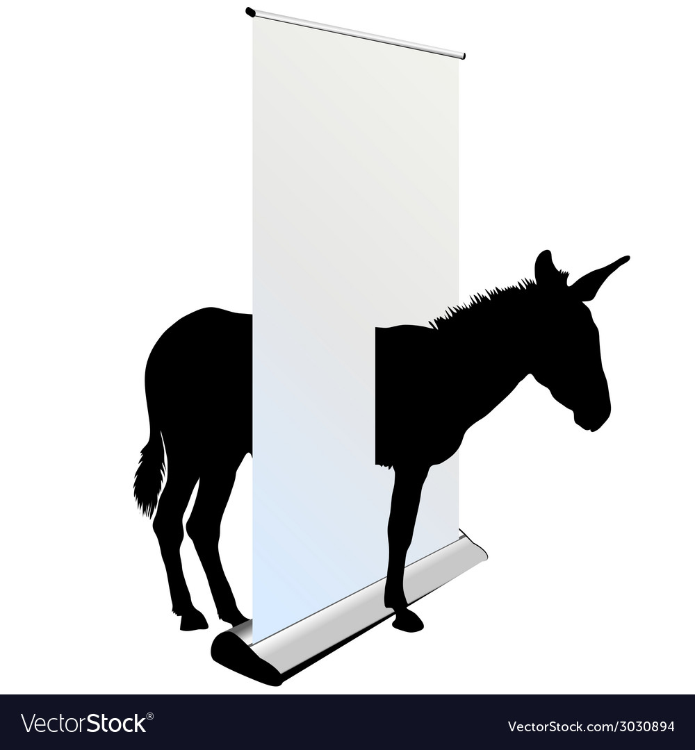 Donkey through the roll up vector image