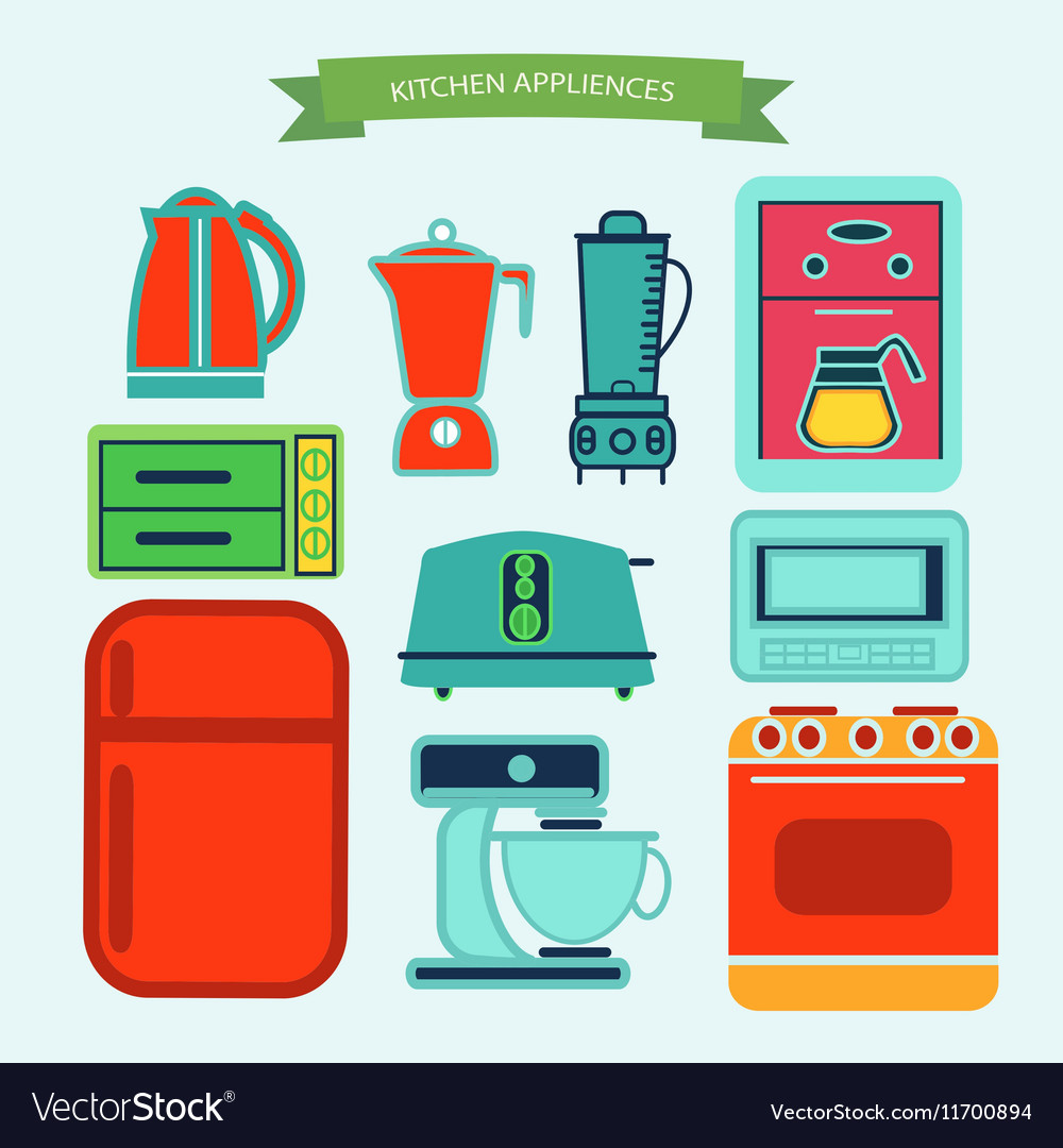 Kitchen Appliances Icons In Flat