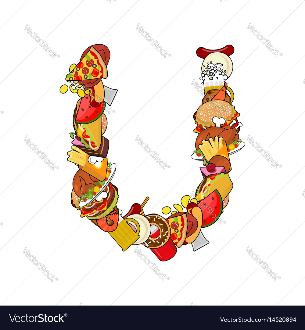 Letter u food edible sign alphabet from pizza and