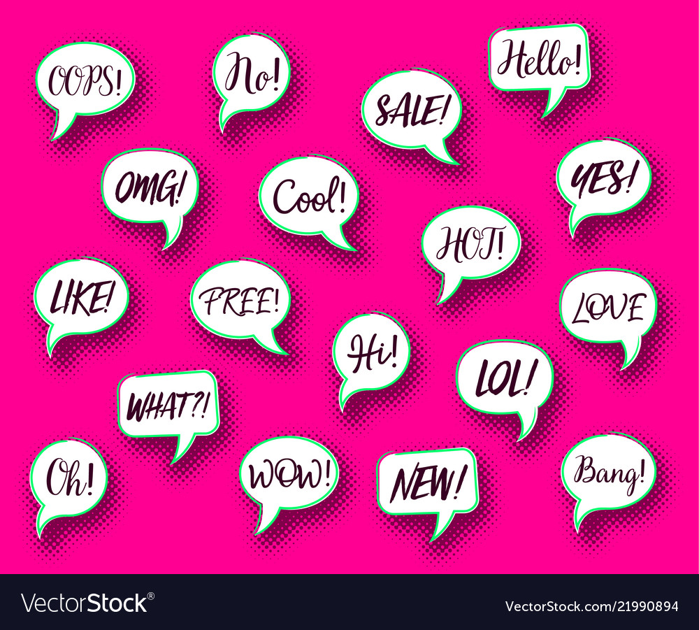 Retro comic speech bubbles chat expressions