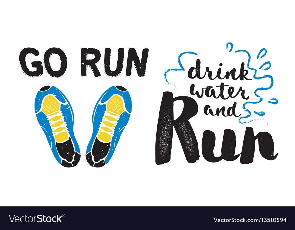 Running marathon logo jogging emblems label and