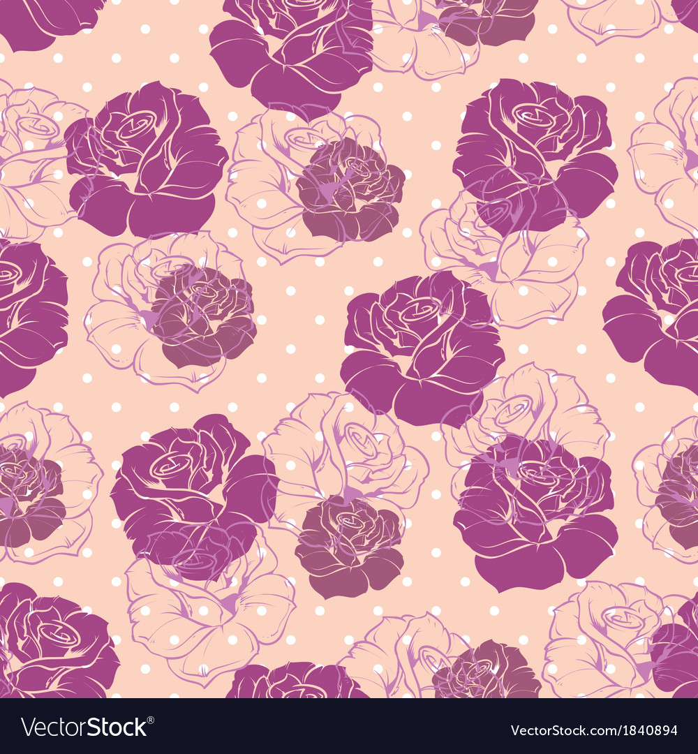 Seamless pink floral pattern with violet roses