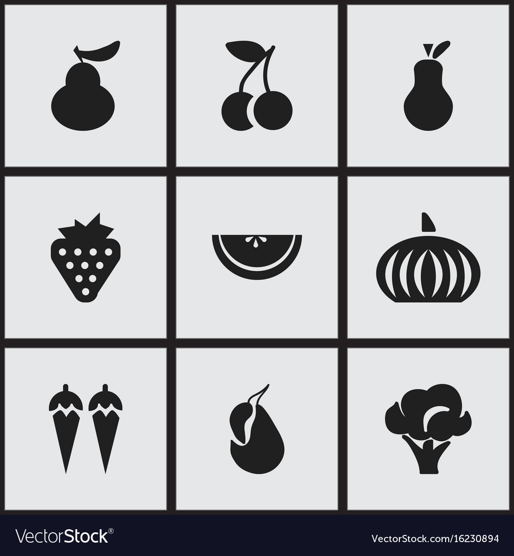 Set of 9 editable fruits icons includes symbols