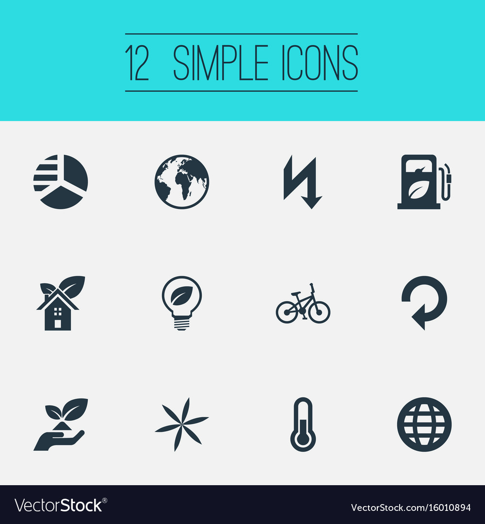 Set of simple ecology icons elements recycling eco