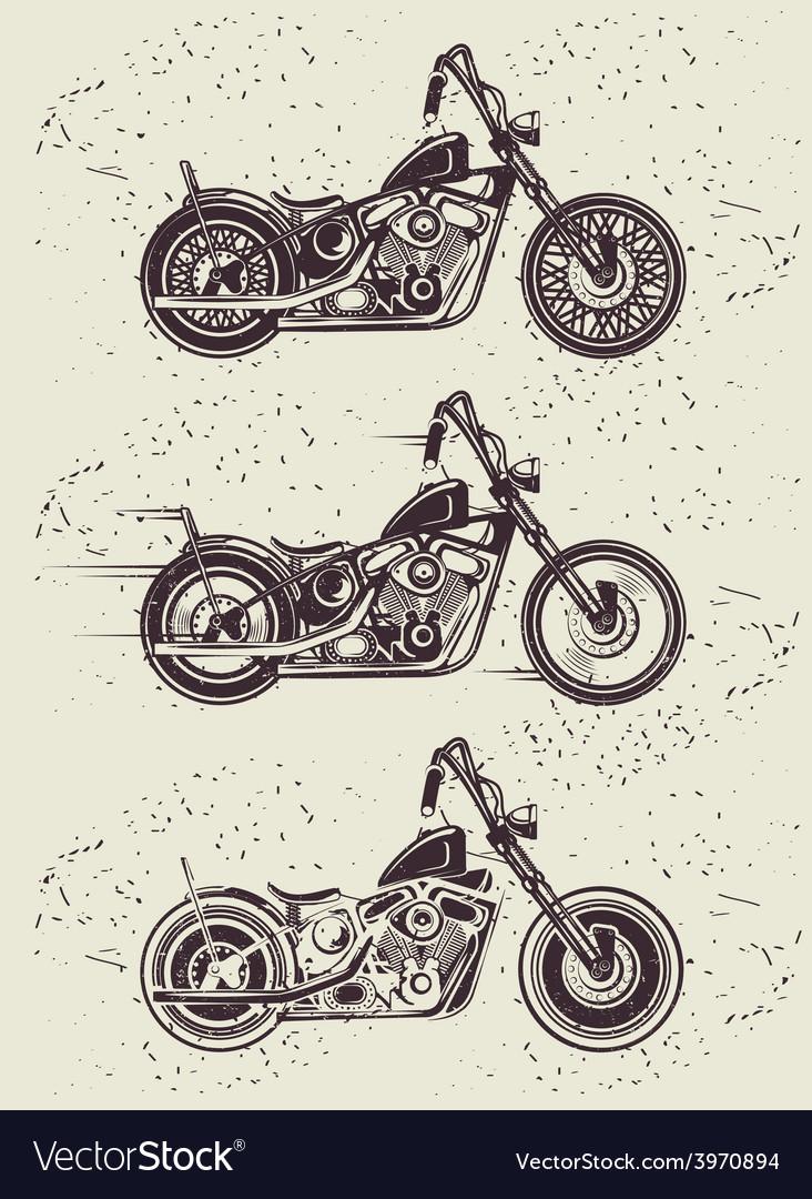 Set of vintage motorcycle badges vector image