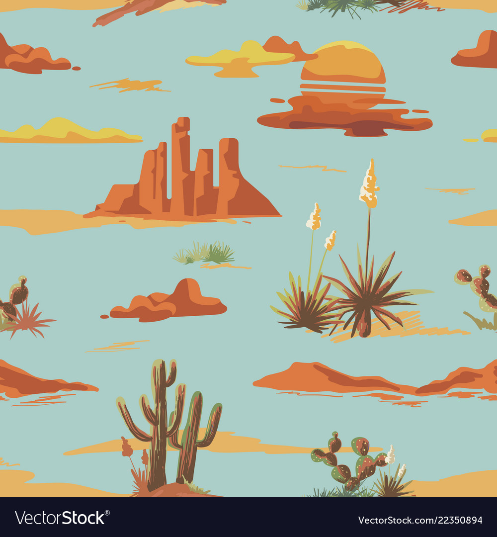 Vintage seamless desert pattern landscape cowboy
