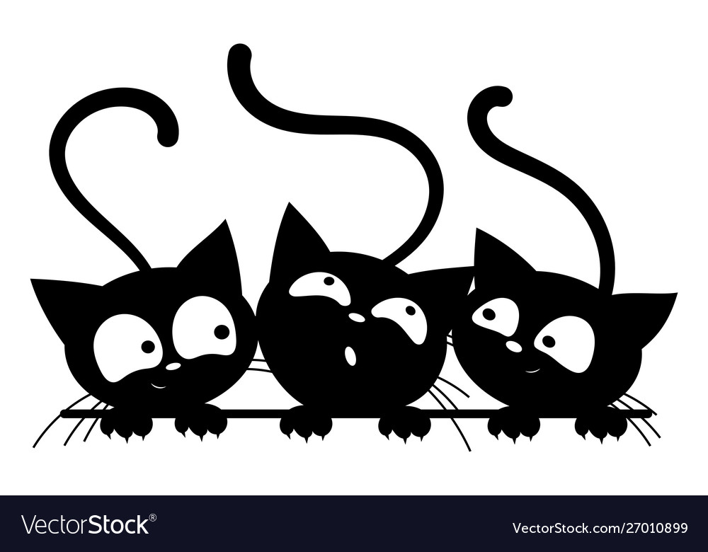 Black cats looking out window cartoon cats