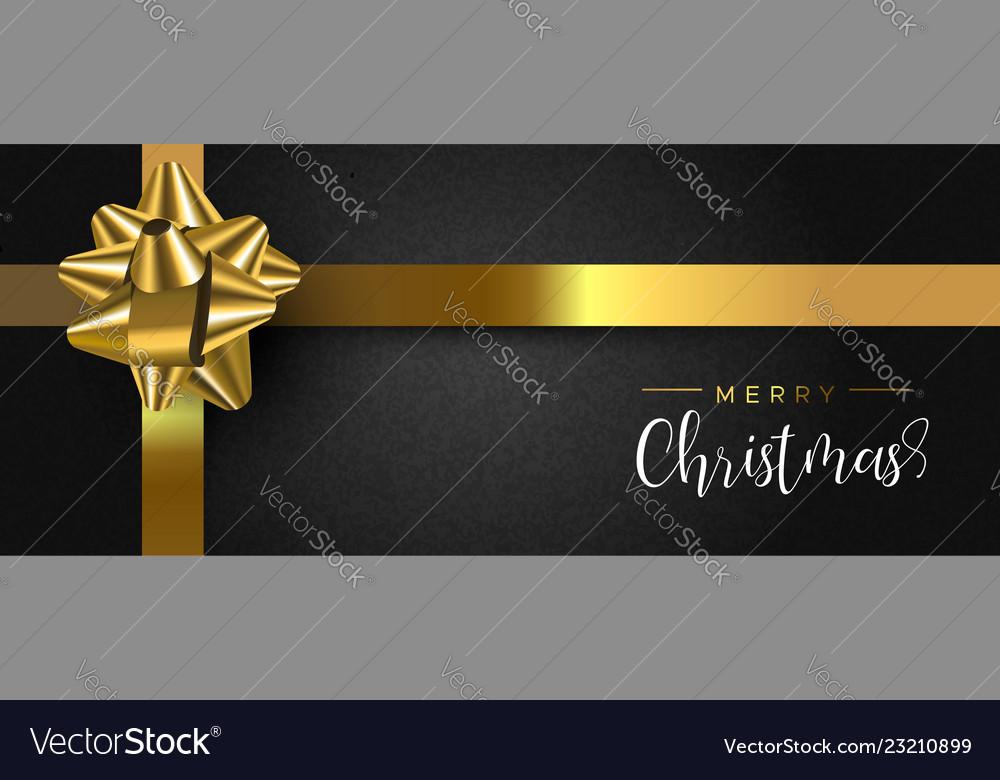 Christmas gift box web banner with gold ribbon