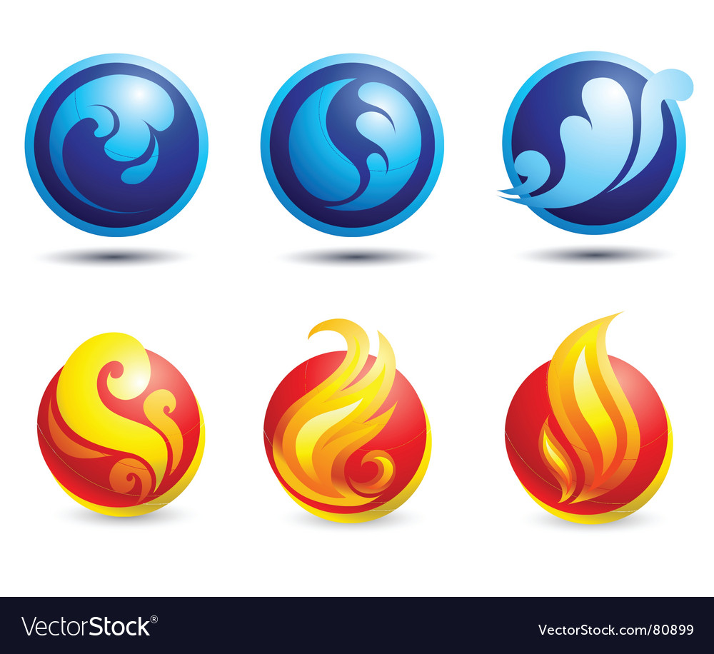 Fire and water web icons