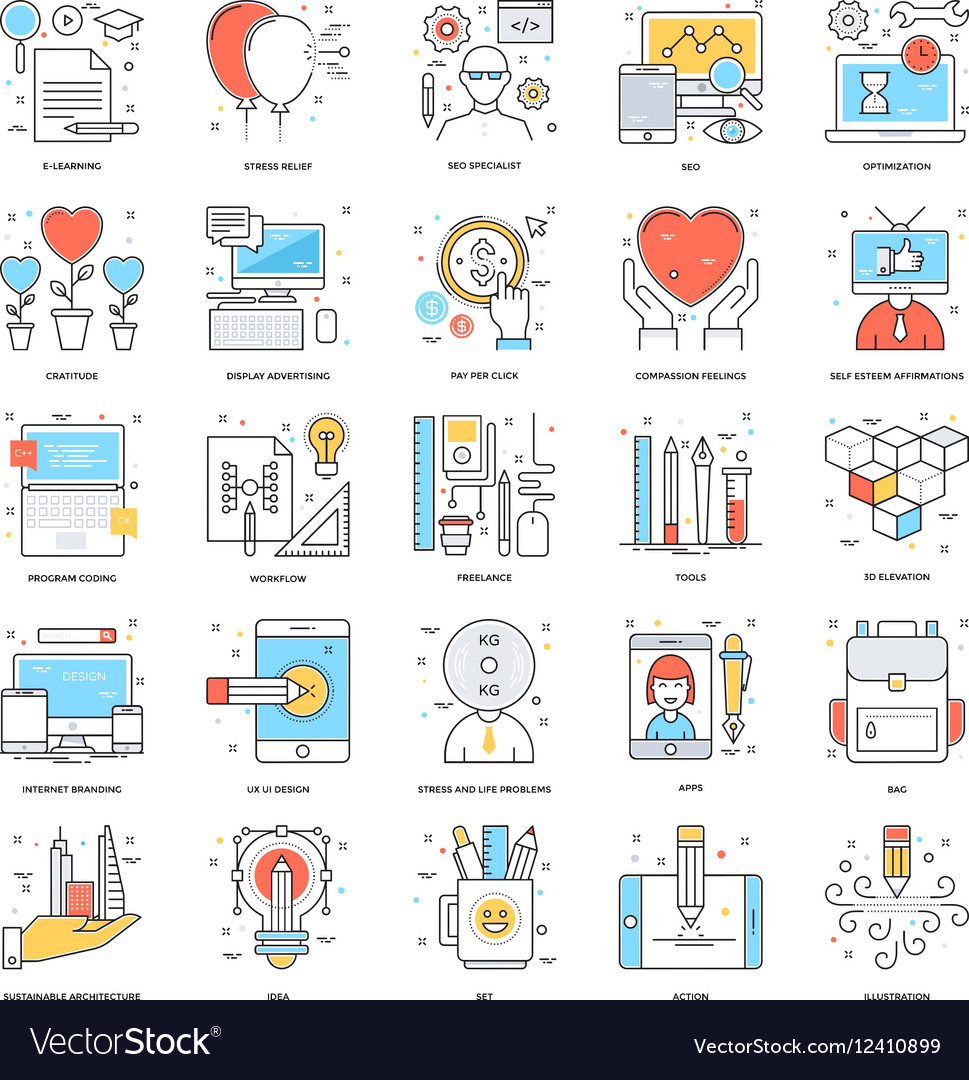 Flat Color Line Icons 13