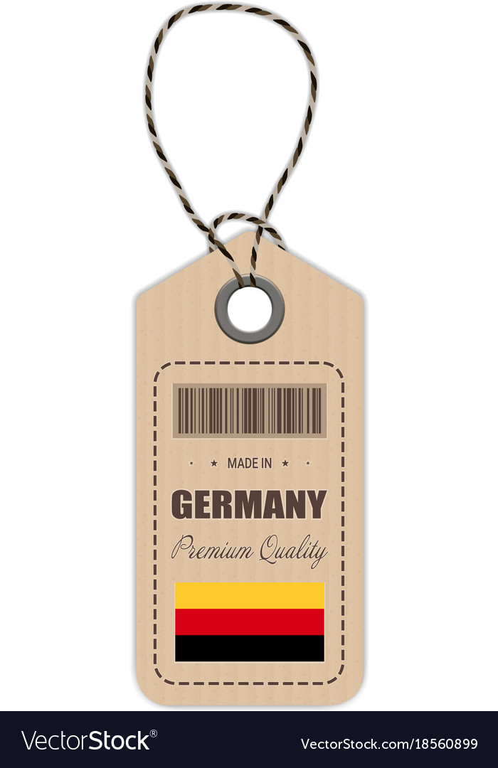 Hang tag made in germany with flag icon isolated