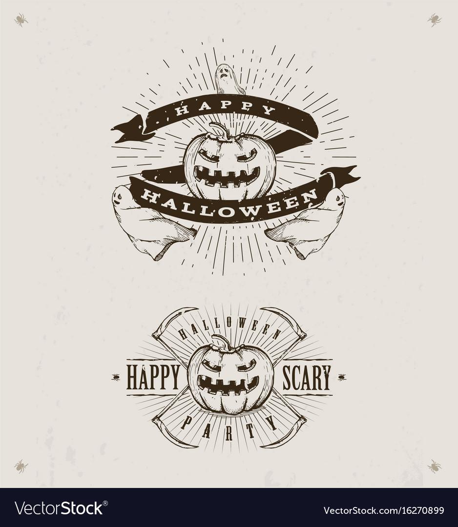 Happy halloween logos vector image