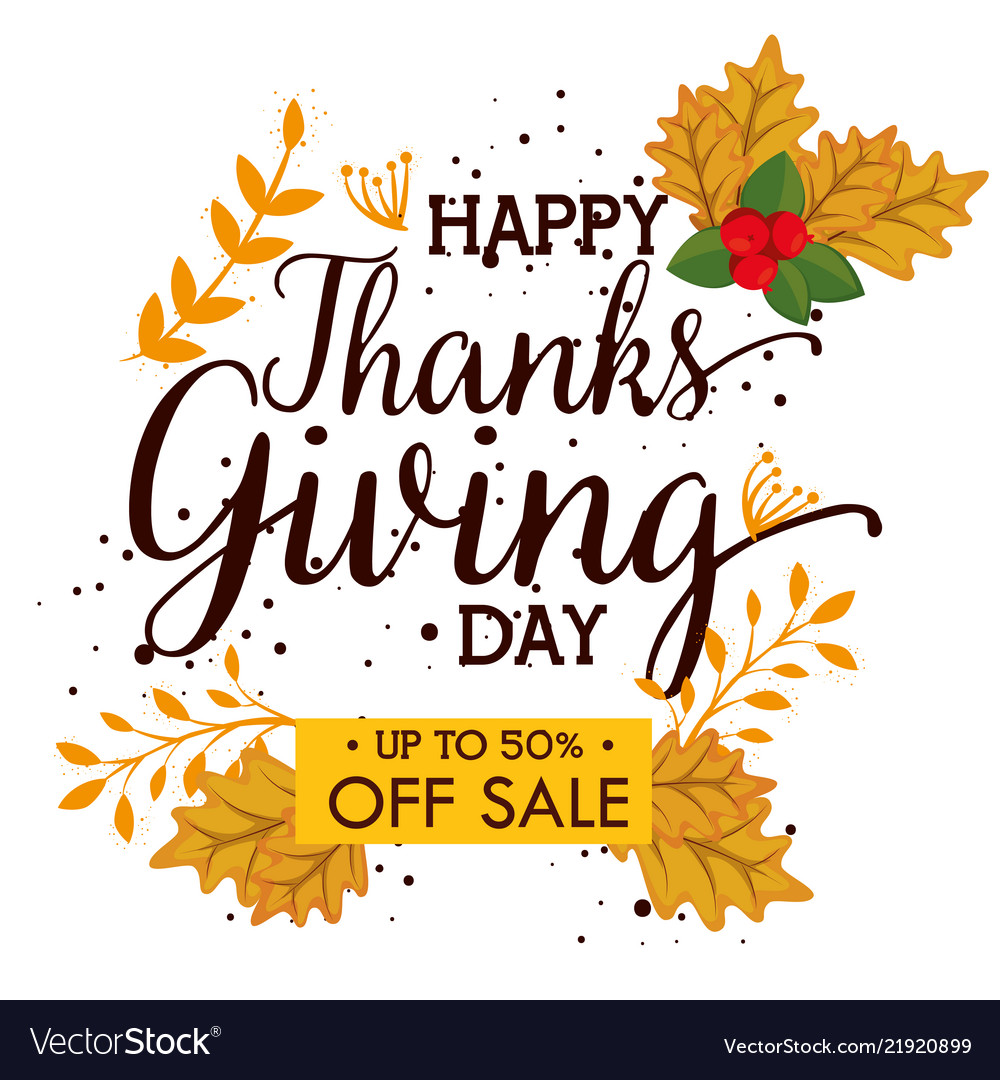 Happy Thanks Giving Day Deals Royalty Free Vector Image