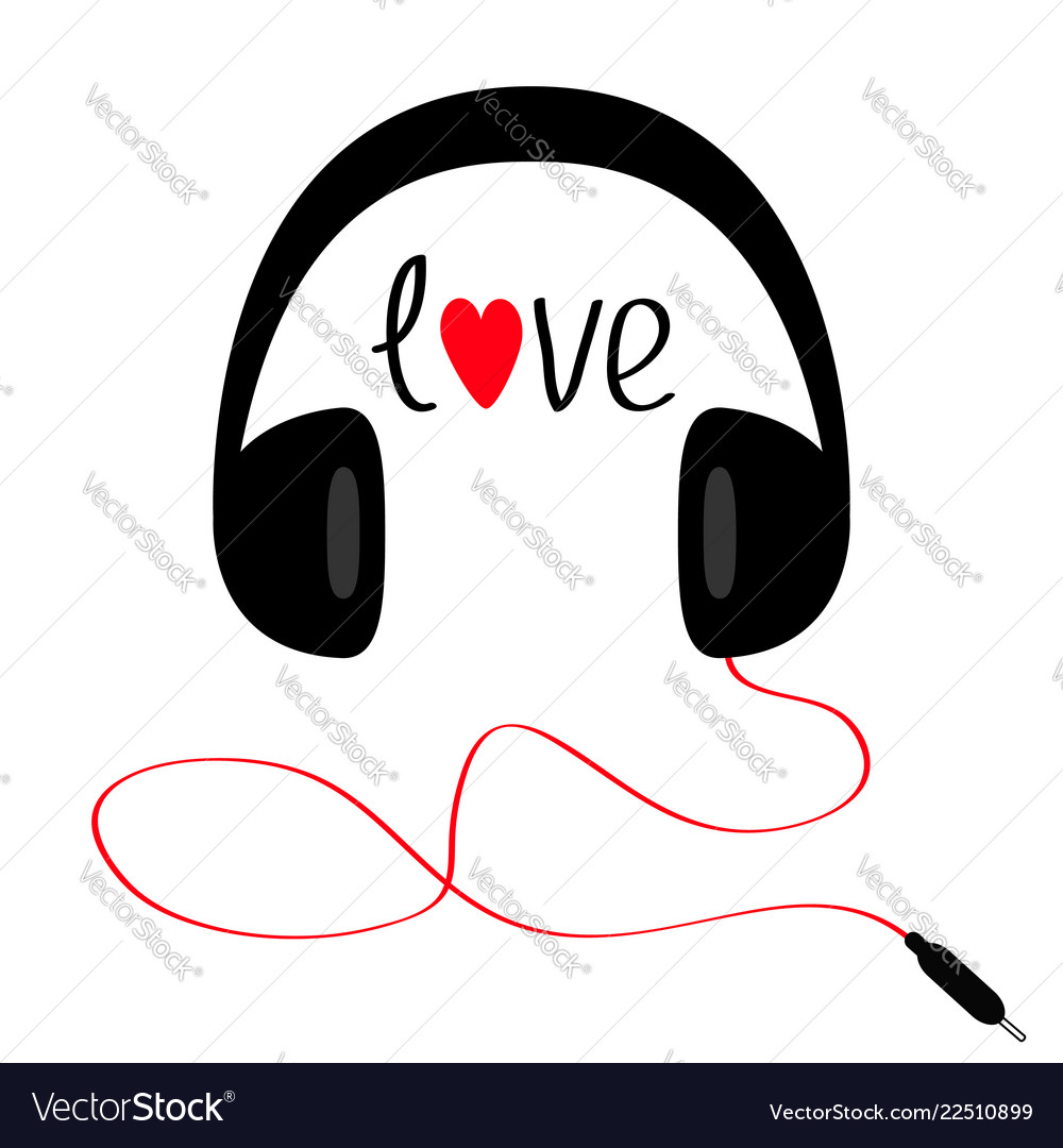 Headphones with cord cable and word love red
