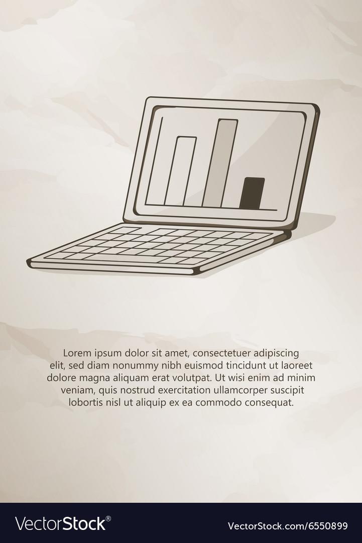 Laptop on grunge background vintage label logo