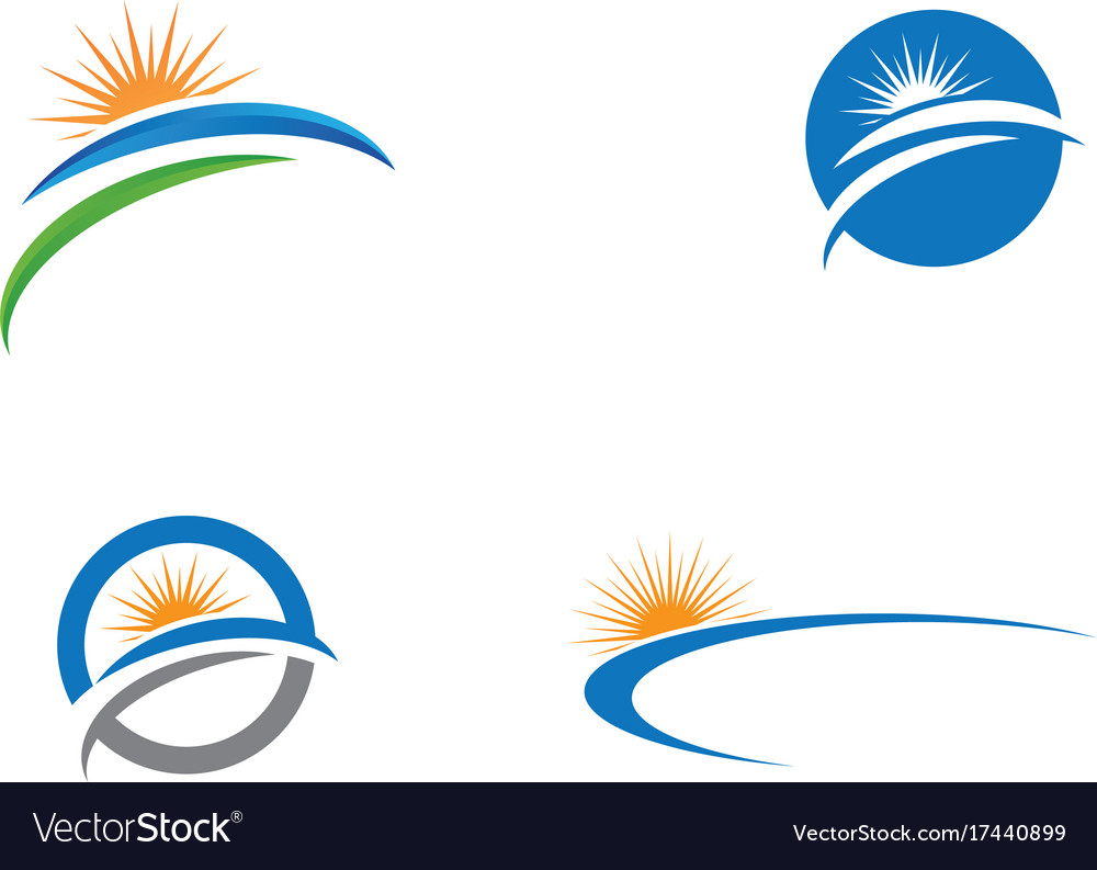 logo template sun over horizon royalty free vector image