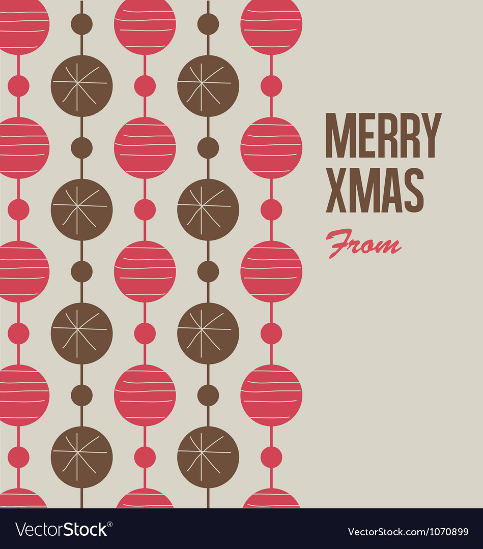 Merry Christmas card with christmas balls