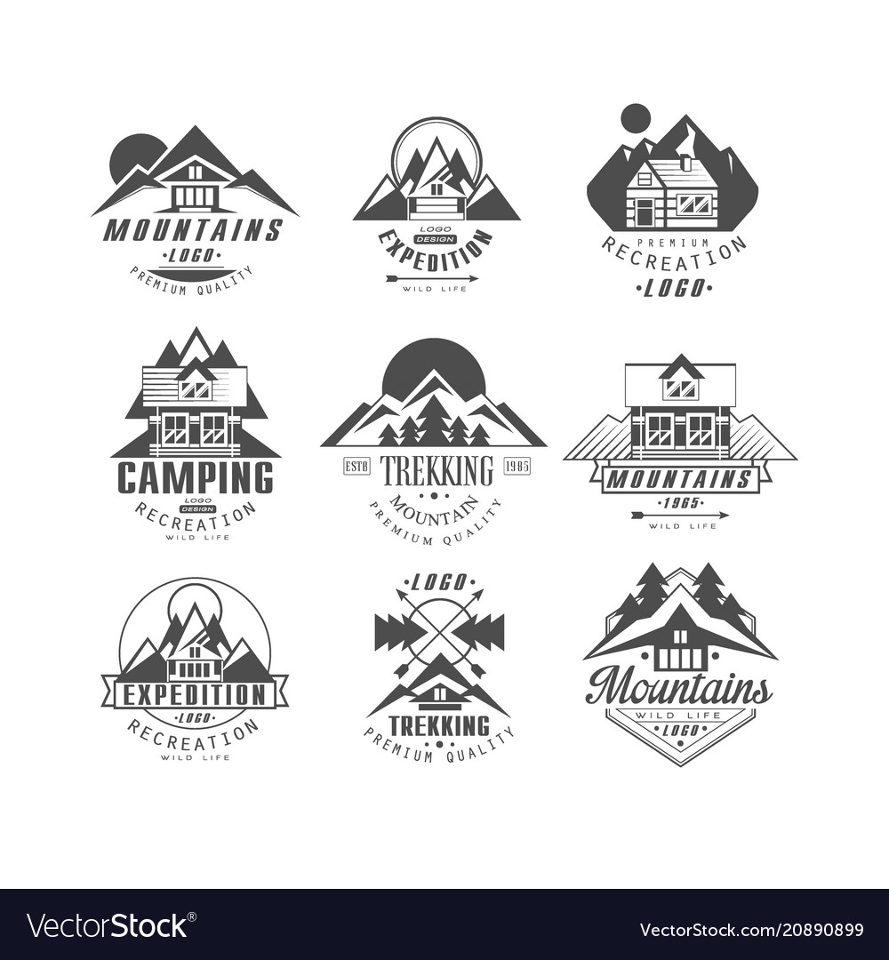 Mountain expedition logo set camping trekking